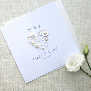 Pearl Heart Personalised Wedding Invitations - invitations