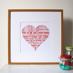 Personalised Love Heart Print - posters & prints