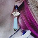 Blue Jewelled Bee Earrings