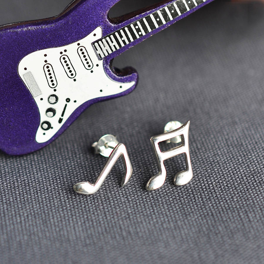 Personalised Music Note Stud Earrings Polished