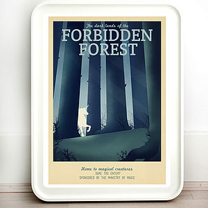 Harry Potter Forest Retro Travel Print