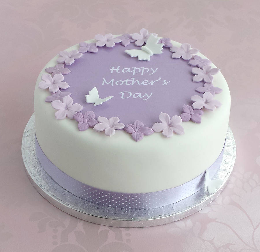 Mothers Day Cake Decoration With Mauve Polka Dot Ribbon