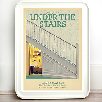 Harry Potter Stairs Retro Travel Print