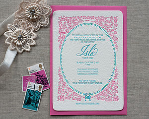Delicate Letterpress Birthday Invitation
