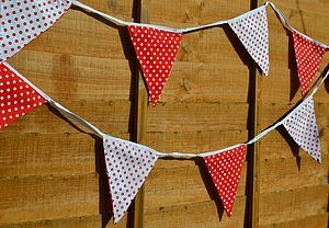 Red And White Polka Dot Bunting - children's decorative accessories