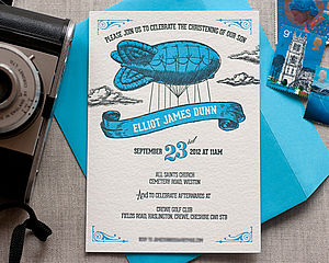 Letterpress Zeppelin Christening Invitation