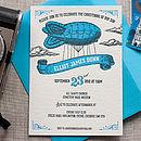 Letterpress Zeppelin Christening Invitation