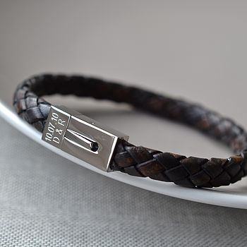 Personalised Men's Leather Date Bracelet