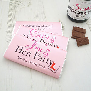 Hen/Stag Do Personalised Chocolate Bars X6