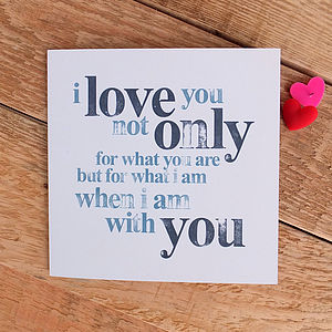 I Love You Card; Hand Stamped Style