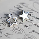 Silver Mismatched Star Stud Earrings Polished