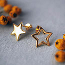 Gold Plated Mismatched Star Stud Earrings Polished