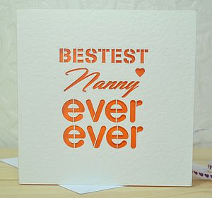 Bestest Nanny Ever Ever Laser Cut Card