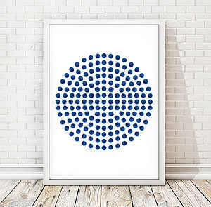Painted Blue Dots Print