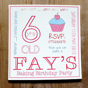 Personalised 'Baking Party' Cupcake Invitations - children's parties