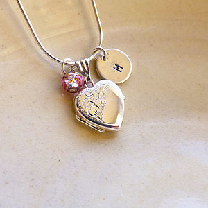 Heart Locket With Letter Disc And Bead