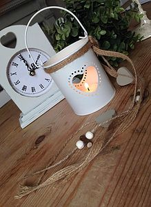 Cream Heart Hanging Lantern - home