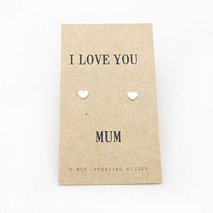 Love You Mum Silver Earrings - mother's day gifts