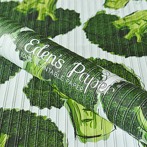 Broccoli 100% Plantable Wrapping Paper - ribbon & wrap