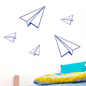 Set Of Five Paper Planes Wall Sticker