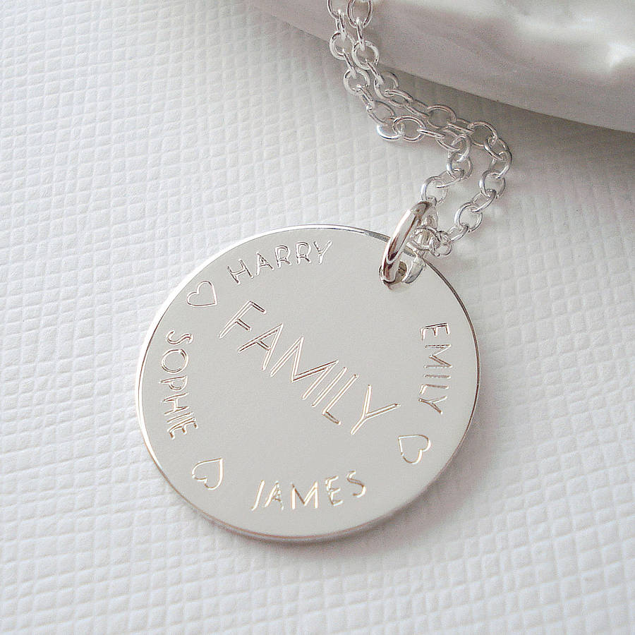 sterling silver engraved family necklace by mia belle