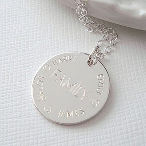 Sterling Silver Engraved Family Necklace - inspired by family
