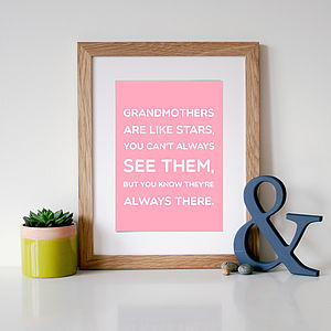 'Grandmothers Are Like Stars' Quote Print - canvas prints & art