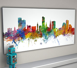 Leicester England Skyline Cityscape - canvas prints & art