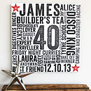 Personalised Birthday Typographic Art Block
