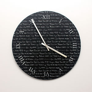 Engraved Languages In Time Acrylic Clock