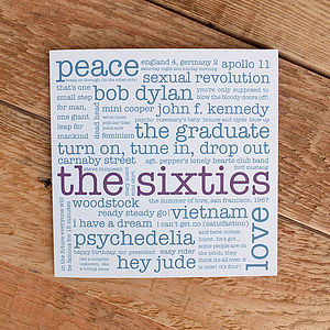 50th Birthday Card 'The Sixties'