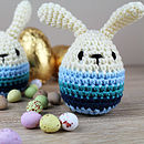 blue knitted rabbit