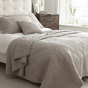 Taupe Quilted Bedspread - bed, bath & table linen