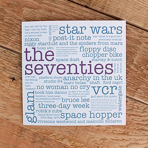 40th Birthday Card 'The Seventies'