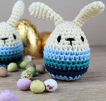 Knitted Blue Easter Bunny