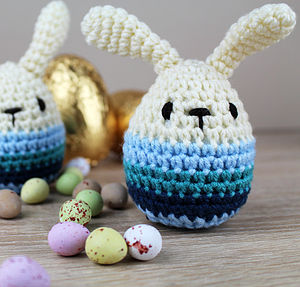 Knitted Blue Easter Bunny - baby & child