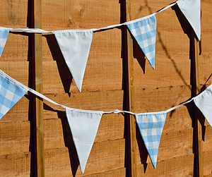 Light Blue Check Bunting - garden