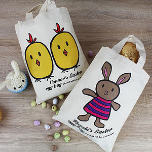 Personalised Easter Character Tote Bag - easter egg hunt