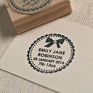 Baby Girl Birth Announcement Customised Stamp - home