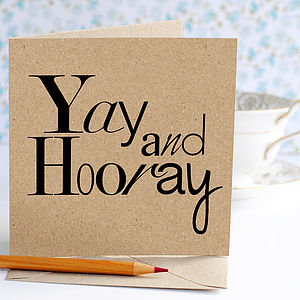Yay And Hooray Congratulations Card - shop by category