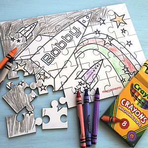 Personalised 'Colour In' Wood Jigsaw Puzzle - holiday play ideas
