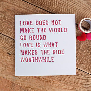 'Love Makes The Ride Worthwhile' Card - anniversary cards