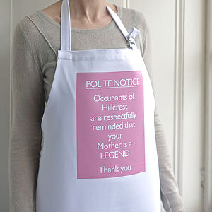 'Your Mother Is A Legend' Personalised Apron - aprons