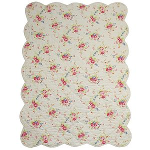 White Floral Single Bed Quilt - children's room