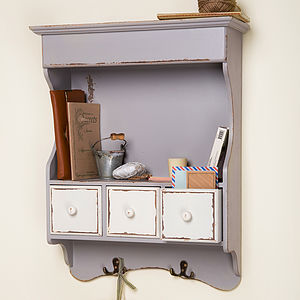 French Grey Distressed Wall Cabinet - living room