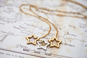 Gold Triple Stars Necklace - birthday gifts