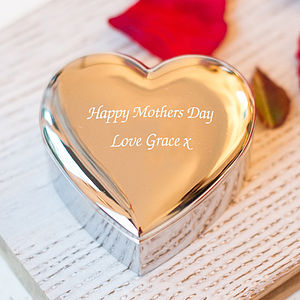 Engraved Heart Trinket Box - gifts for mothers