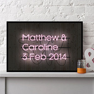 Personalised Neon Sign Framed Print