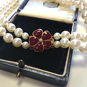 Faux Pearl Flower Choker Necklace