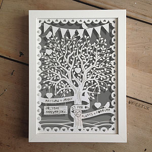 Personalised Love Tree Papercut With Bunting - wall art